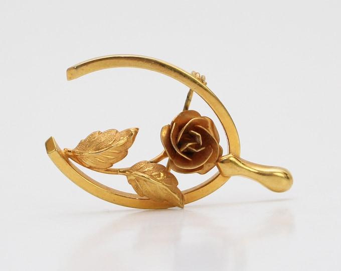 Vintage 1970s Gold Wishbone Rose Brooch