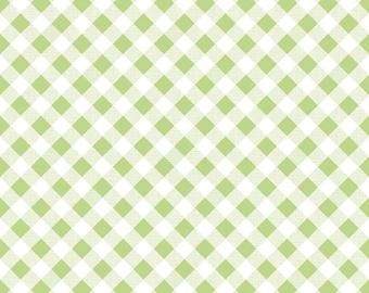 Green Gingham Fabric - Sew Cherry 2 Fabric by Lori Holt - Green and White Gingham Fabric By The 1/2 Yard