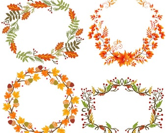 11 Autumn Wreaths | Fall Leaves Acorns | Clipart Transparent Instant Download