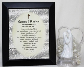 Christian Wedding Gift Personalized, Marriage Scripture, Personalized Wedding, Christian Marriage Gift, Wedding Bible Verse, 8x10 inch Frame