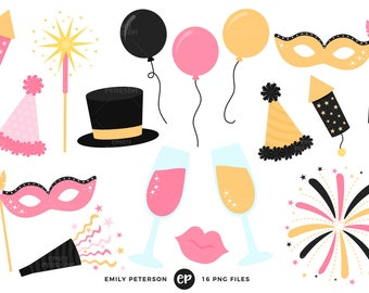 New Year's Eve Clip Art, Party Clipart, Fireworks Clip Art - Commercial Use, Instant Download