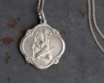Saint Christopher Necklace - Antique Sterling Silver Medallion on Chain - Vintage Religious Icon