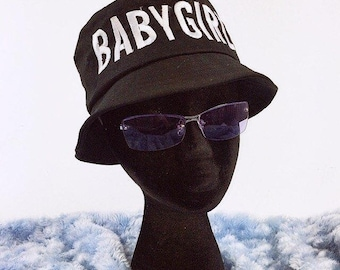 90s BABYGIRL Embroidered Bucket Hat Black and White