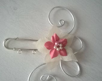 back train, train, ivory scarf clip brooch clip / powder pink wedding bridal evening party