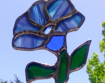 Blue Spring Flower Suncatcher Stained Glass Art Garden Decoration Housewarming Gift for Her Mothers Day Home Decor Window Hanging