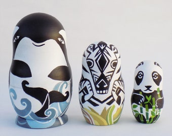 Black and White Animals Nesting Dolls, 3 pieces