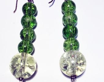 Pair of Vintage glass bead drop earrings