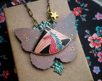 Bohemian Unicorn Necklace - Boho Vintage Enamel Cloisonne Unicorn Wood Butterfly Outer Space Statement Necklace - Bib Pendant Jewelry Gift