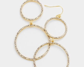 CRYSTAL RHINESTONE PAVE Duoble Hoop Link Dangle Earring