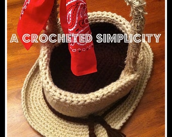 """Crochet Pattern: """"YeeHaw"""" Cowboy Hat Easter Basket, Permission to Sell Finished Items"""