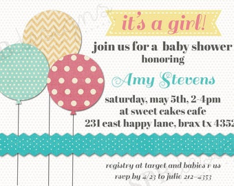 Baby Shower Invitation -- Chic Balloons