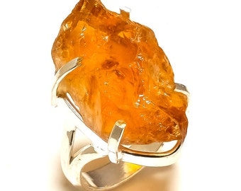 75 Cts Raw Citrine Ring-Rustic Gemstone-Gold Ring-Cocktail Ring-Statement Ring-Organic Ring-One of A Kind Ring-Raw Stone-Citrine Silver Ring