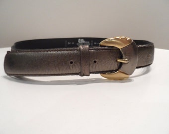 """EB Evelyn women's pewter tone leather belt with gold tone buckle- size 80cm - 32"""" - vintage"""