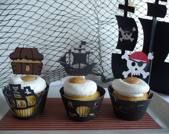 Pirate Cupcake Toppers Set of 12 - Pirate Ship - Skull Bones - Treasure Chest Party - Pirate Baby Shower - Pirate Theme Party