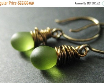 MOTHERS DAY SALE Bronze Earrings - Frosted Green Dangle Earrings, Wire Wrapped Drop Earrings. Handmade Jewelry.
