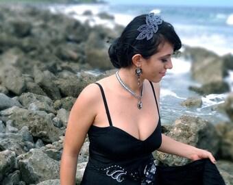 Goddess - Sparkling Black Leaves Crystal Beaded Leaf Headband Hair Accessory