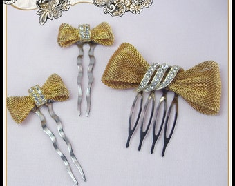 REDUCED Wedding Vintage Hair Comb Gold Tone Bows with Rhinestone Centers  Bridal Prom Christmas