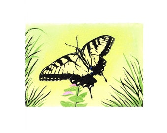 Linocut print Swordtail butterfly