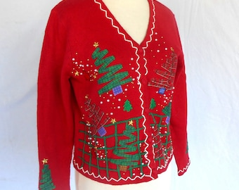 Ugly Christmas Tacky Red Cardigan Sweater with Trees Snowmen