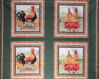 Rooster, chicken and chicks pillow fabric panel.  Companion fabrics are also shown.