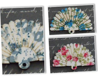 Charms 31x48mm floral fan