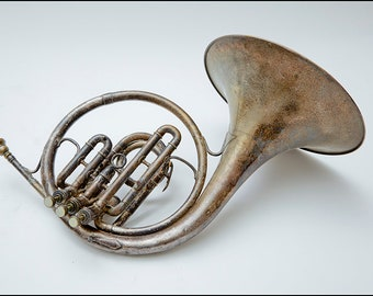 French Horn - Vintage 1926 C G Conn Silver plated made in Elkhart, Indiana, USA