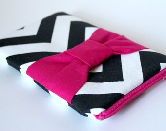 Eyeglass/Sunglass Case - Chevron Bow (black and hot pink)