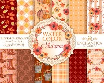 Watercolor Autumn Digital Paper, Autumn Digital Paper Watercolor, Watercolor Fall Digital Paper, Fall Watercolor Digital Papers Patterns