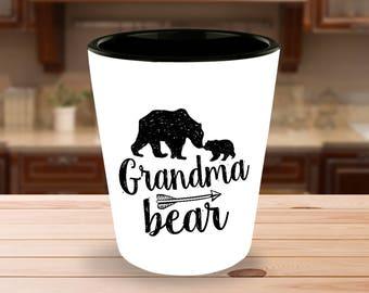 Grandma Bear Shot Glass  - 1.5 oz Ceramic Shotglass - Gift for Grandmother
