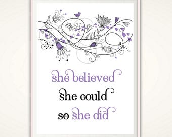 She Believed Print, PRINTABLE She Believed She Could So She Did, Half Marathon Gift, Runners Gift, Girlfriend Gift, Gym Wall Art, Gym Sign