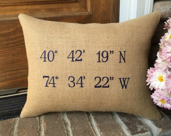 Map Coordinates Pillow, Longitude Latitude Pillow, Burlap Pillow, Destination Pillow, Wedding Pillow, Housewarming Pillow, Home pillow, GPS