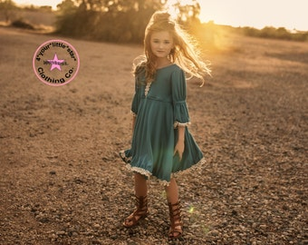 Julianna Teal Knit Dress  from our Fall Boho Collection Toddlers, Girls size 2- 9/10