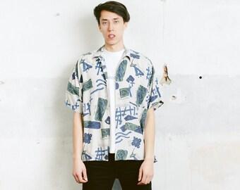 Men Short Sleeve Summer Shirt . 90s Vintage Men's Short Sleeve Abstract Print Shirt Patterned 90s Shirt Colorful Vacation Shirt . size Large