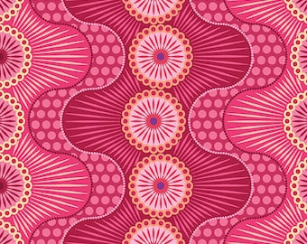 Pink Wavy Stripes Dot Crazy Benartex Fabric