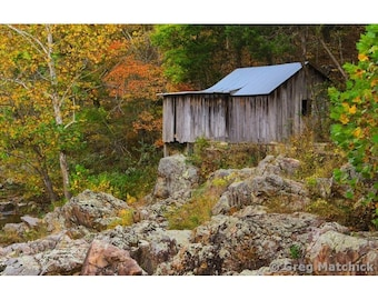 Fine Art Color Photography of Rustic Old Klepzig Grist Mill in the Missouri Ozarks for Rural Americana Farmhouse Decor