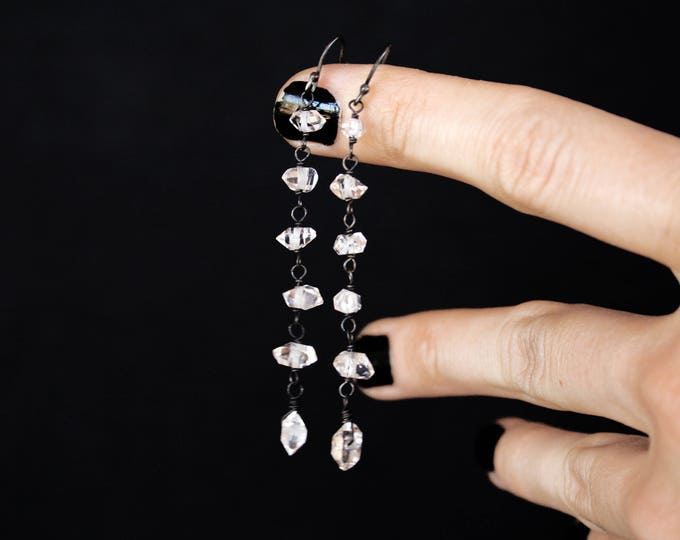 Clear Herkimer Diamond Sterling Silver Long Drop Earrings
