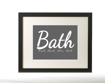 Printable bathroom wall art, Wash, Brush, Floss, Flush, sign, Instant Download