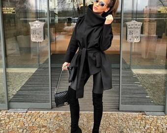 Woman asymmetric jacket/blacl asymmetric jacket/loose asymmetric casual jacket/plus size woman poncho/oversized woman poncho