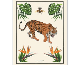 Natural Values print - Strength - Tiger Art - Scientific Illustration - Nature Art - Inspirational - Ryan Berkley - Wall Art - Jungle