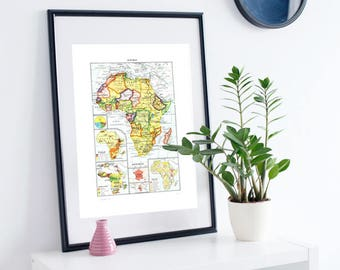 Africa map 1948 Vintage French map Antique Africa map Old map of Africa antique map of Africa Geography decor French dictionary plate Londez