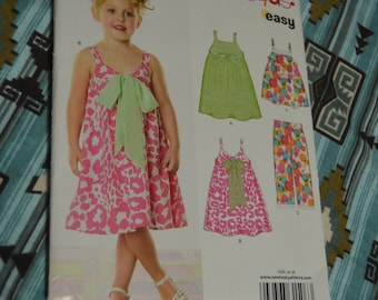 New Look 6798 Girls Dress or Top and Pants Sewing Pattern UNCUT  Size 3 - 8