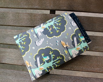 Friends of the Woods Gray and Turquoise Foam Padded Small 9x7.5 Book Sleeve Fully Lined