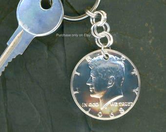 1968 Half Dollar Keychain 50th Birthday Gift Idea 50th Anniversary Gift Idea Coin 50 Cent 1968 Half Dollar Keychain