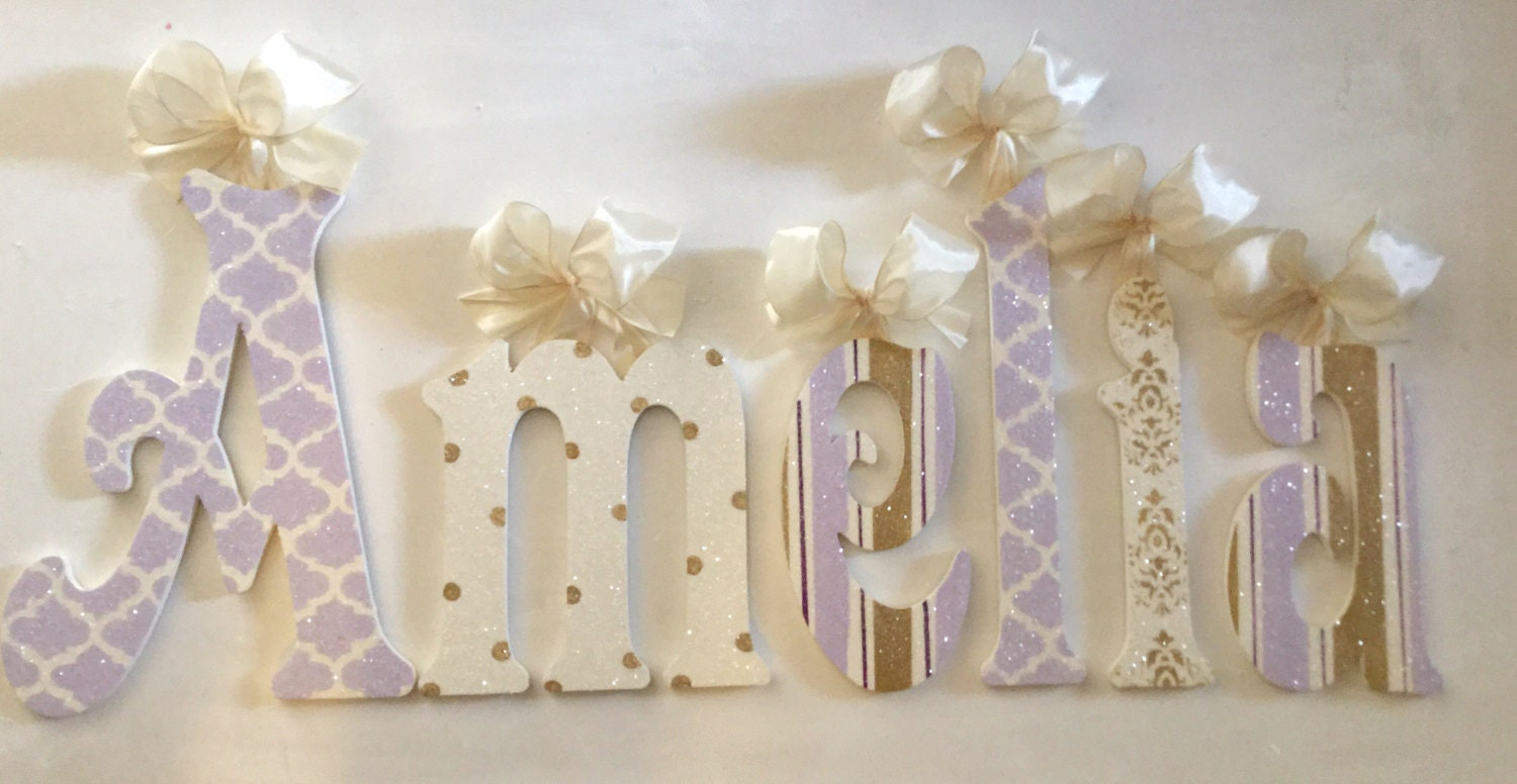 Gold Hanging Letters Wall Decor Glittered Lavender Gold Cream Wall Letters Wooden