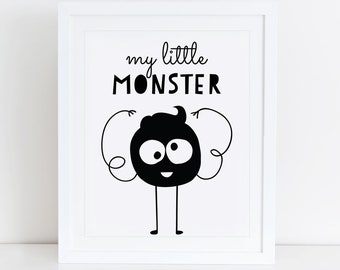 My Little Monster Art Print Printable, Cute Monsters Art Print, Nursery Art Print, Nursery Decor, Instant Download, Monsters Wall Art Decor