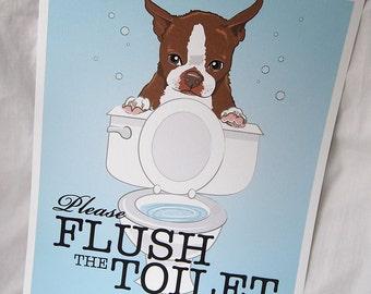 Flush Toilet Brown Boston Terrier - 8x10 Eco-friendly Print