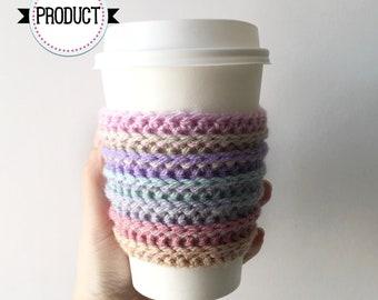 Pastel Coffee Cozy, Cup Cozy, Coffee Cozy, Cup Sleeve, Crochet Coffee Cozy, Coffee Sleeve, Rainbow Coffee Cozy, Coffee Cosy