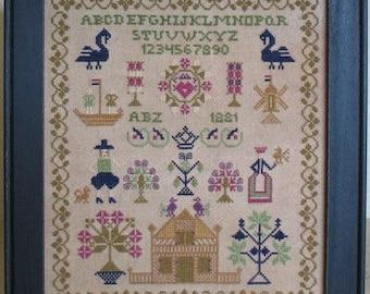 Primitive Cross Stitch PDF Pattern 1881 Sampler Reproduction