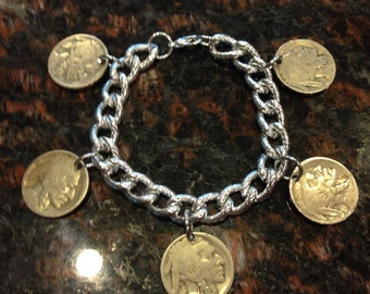 Buffalo Nickel Charm Bracelet featuring the Indian
