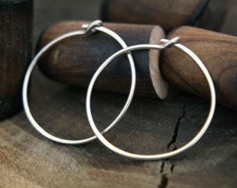Simple Sterling Silver Hoop Earrings - Sterling Silver Circle Hoop Earrings